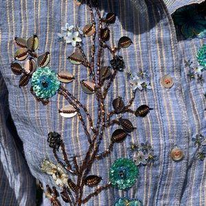 HD in Paris Tops - Anthropologie Ella embroidered peplum shirt.